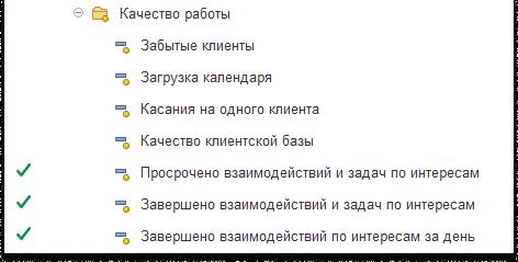 Скриншот показателей Качество работы в 1C:CRM